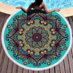 Okrogla brisača za na plažo Mandala